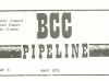 "Cover of the issue of BCC Pipeline April 1975 in which article ""Foster Hotel Reopens in June"" appeared. The word ""File"" at top of image was written by Kate. (From From the Times: Housing: II)"