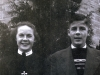 1940: Kate as postulant, during her first month after re-entering the convent of the Sisters of St. Mary of Oregon, in Beaverton, Oregon. She is nineteen. While this is her first year, she had entered the same convent once before, at age fourteen, but had been asked to leave due to immaturity. She is wearing the habit that is special to the postulant period. With Kate is younger brother, Al, who has come down from Victoria, B.C., Canada to visit his sister one month before going to New York to enter the Irish Christian Brothers (now Congregation of Christian Brothers) to become a religious brother. (From Photo Gallery II. The First Twenty-Five Years as a Sister)